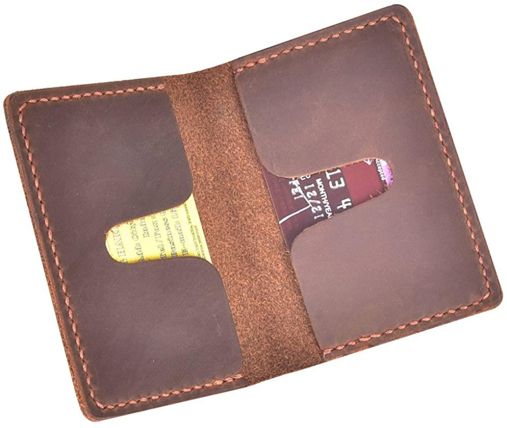 Talleffort Men's Handmade Slim Leather Wallet Credit Card Holder Slim Wallet