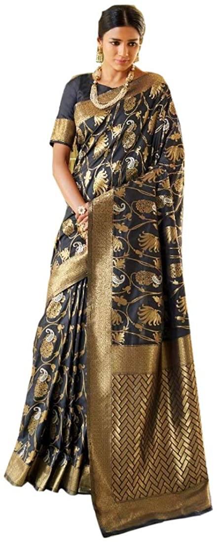Indian Weaving Silk Saree Rakhi Sari Eid ul-Zuha Pakistani Wedding Traditional Functions Indian Dress 9934