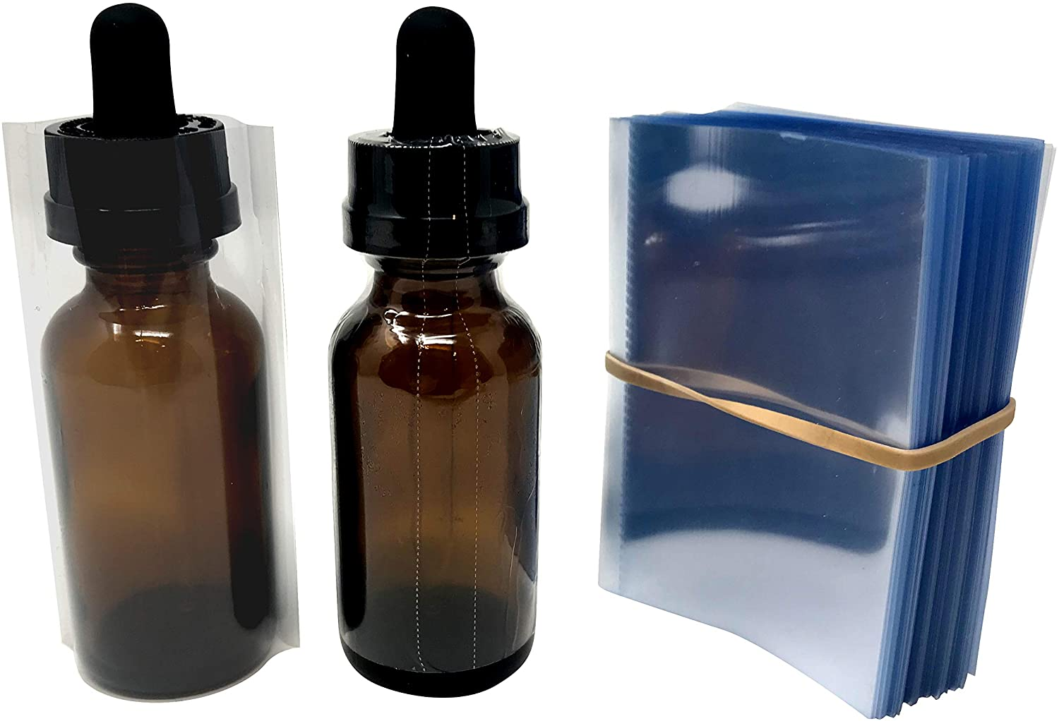 Clear Perforated Shrink Sleeve for 1 Ounce (30 mL) Dropper Bottles (250 Pack)