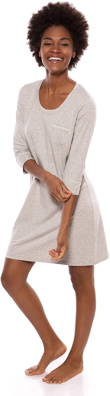 Women's Sleep Shirt 3/4 Sleeve - Classic Nightshirt for Her by Texere (Zizz)