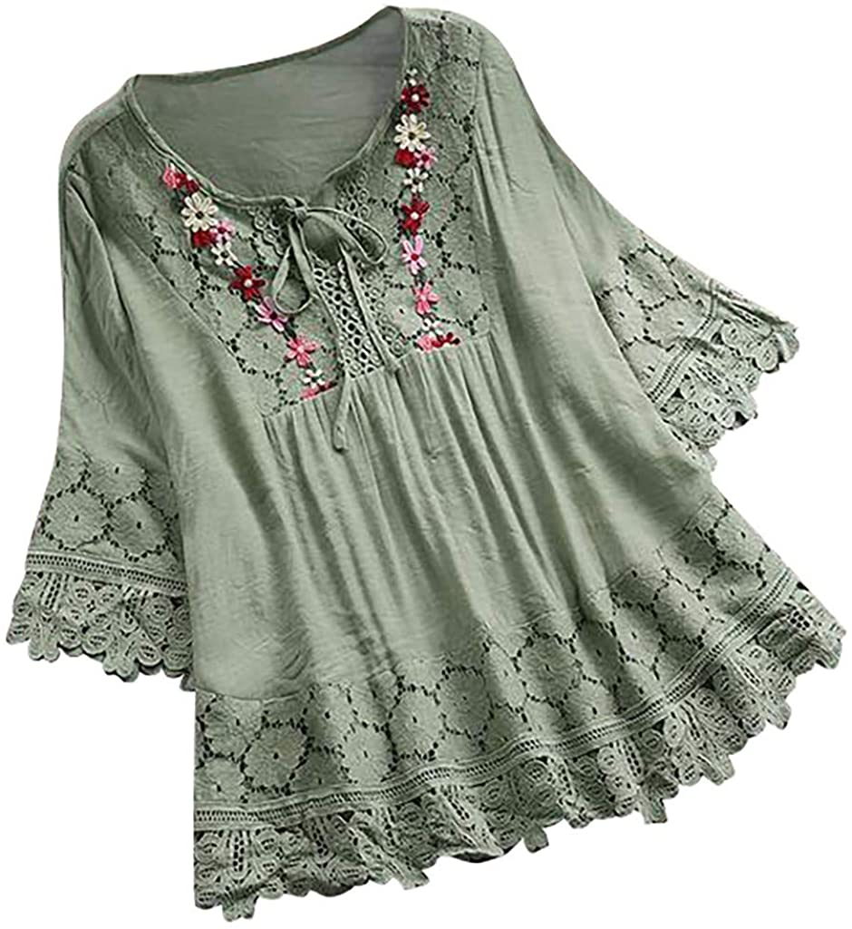 LEKODE Women Tee V-Neck Blouse Applique Lace Fashion Tops