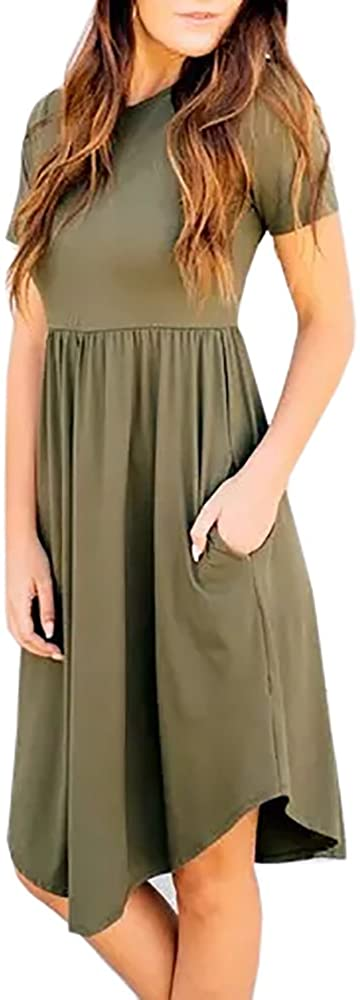 Imysty Womens Casual T-Shirt Dress Short Sleeve Swing Midi Dresses with Pockets