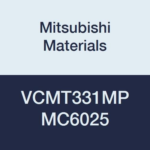 Mitsubishi Materials VCMT331MP MC6025 VCMT Carbide VC Type Positive Turning Insert with Hole, CVD Coated, Rhombic 35°, 0.375 IC, 0.187 Thick, 0.016 Corner Radius, MP Breaker (Pack of 10)