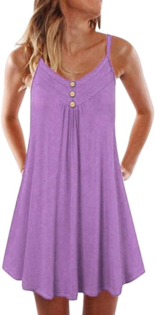 Aniywn Women's Sleeveless Pleated Loose Swing Casual Dress Plus Size Button Plain Knee Length Dress
