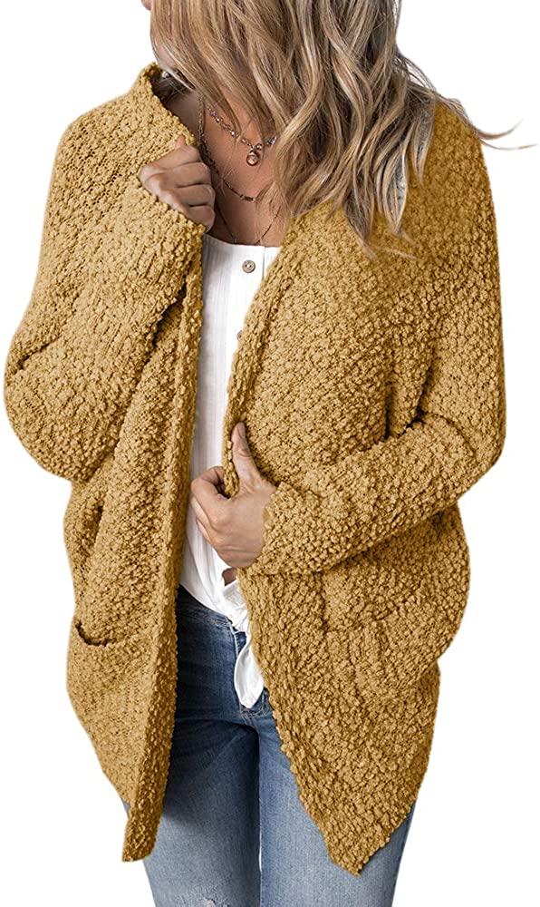 FRUITPLUSH Womens Open Front Cardigan Sweater Long Sleeve Chunky Sherpa Fleece Knit Soft Outwear Coat with Pockets