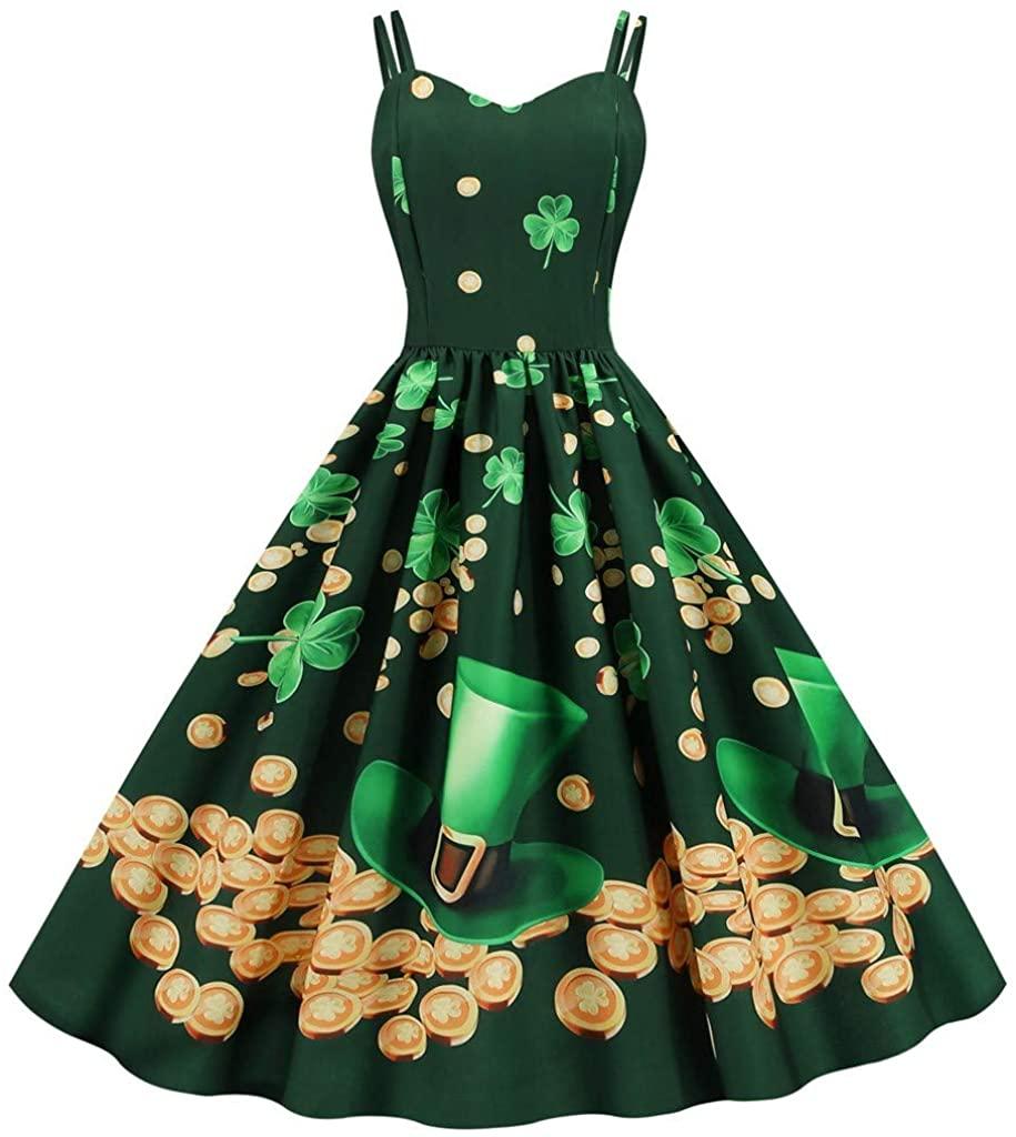 Adeliber St. Patrick's Day Women's V-Neck Shamrock Print Patchwork Sling Dress
