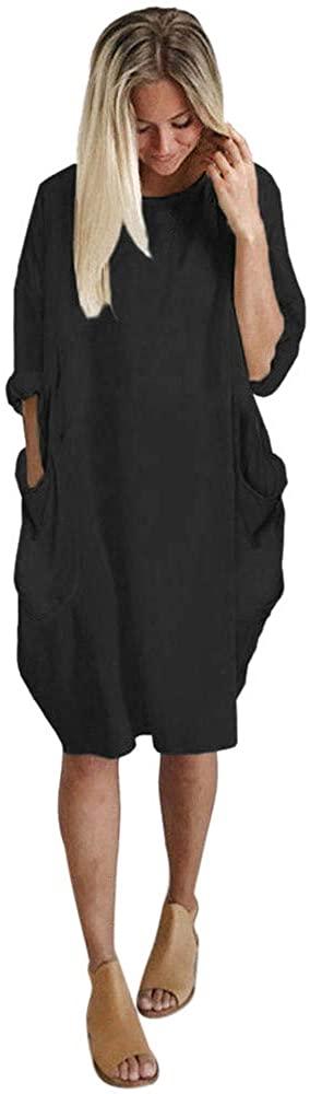 GREFER Women Oversized Dress Long Sleeve Tunic Dress Plus Size Shirt Dress Baggy Pockets Short Jumper Dresses