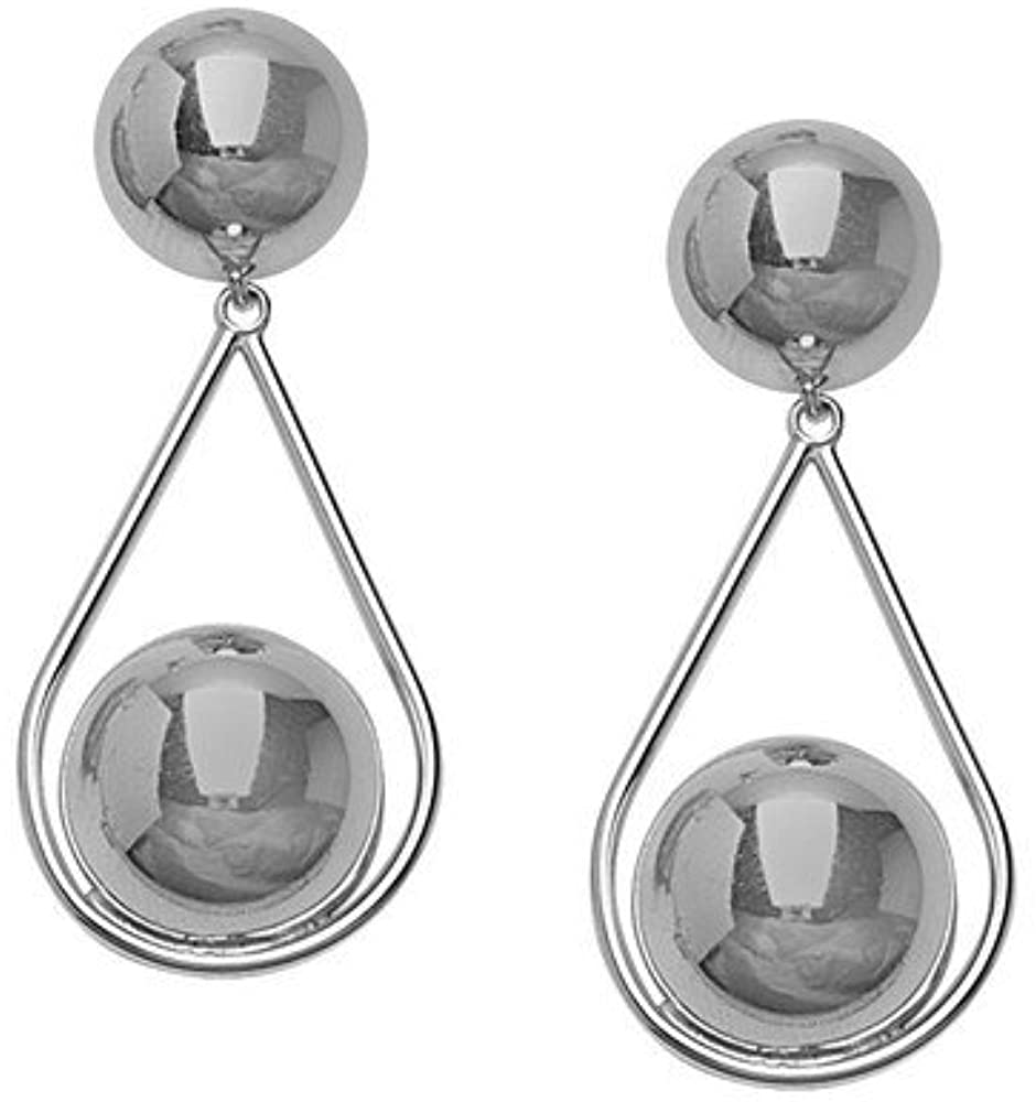 925 Sterling Silver Rhodium Plated Dangle Teardrop With Ball Earrings Jewelry Gifts for Women