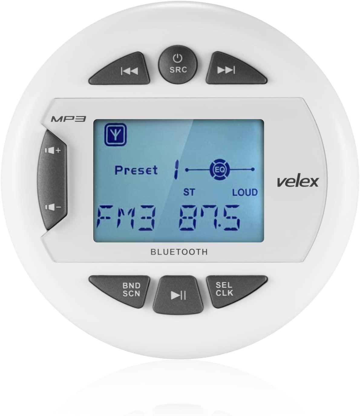 Marine Stereo by Velex, in-Dash, Marine Gauge, Bluetooth, Digital Media MP3 / WMA/USB/AM/FM Weather-Proof Marine Stereo, (No CD Player)
