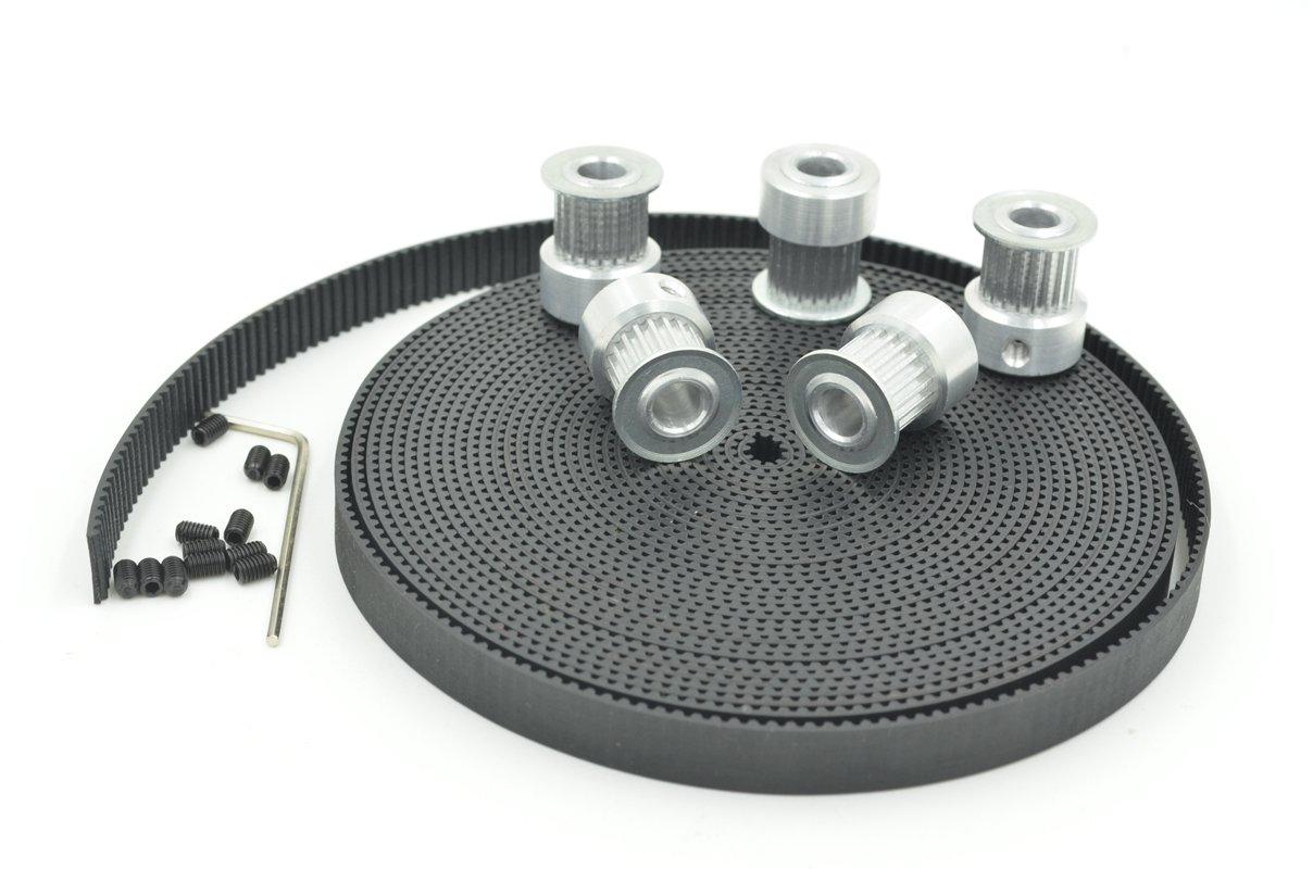 POWGE 5pcs GT2 Timing Pulley 20 Teeth Bore 6.35mm & 5Meters GT2 Timing Belt Width 9mm for 3D Printer Reprap Mendel Prusa