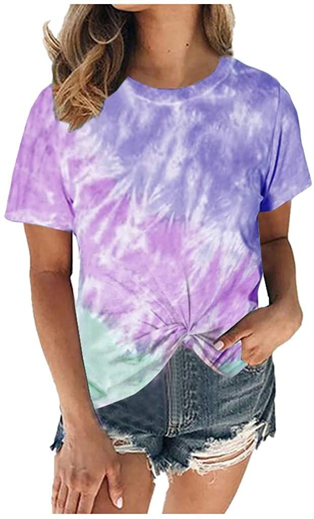 Women's Short Sleeve Tie Dye Shirts Gradient Color Block Crewneck Tees Twist Knot Tops Plus Size S-5XL