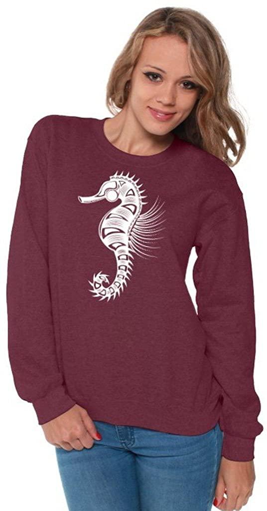 Awkwardstyles Women's Sea Horse Crewneck White Animal Sweatshirt + Bookmark