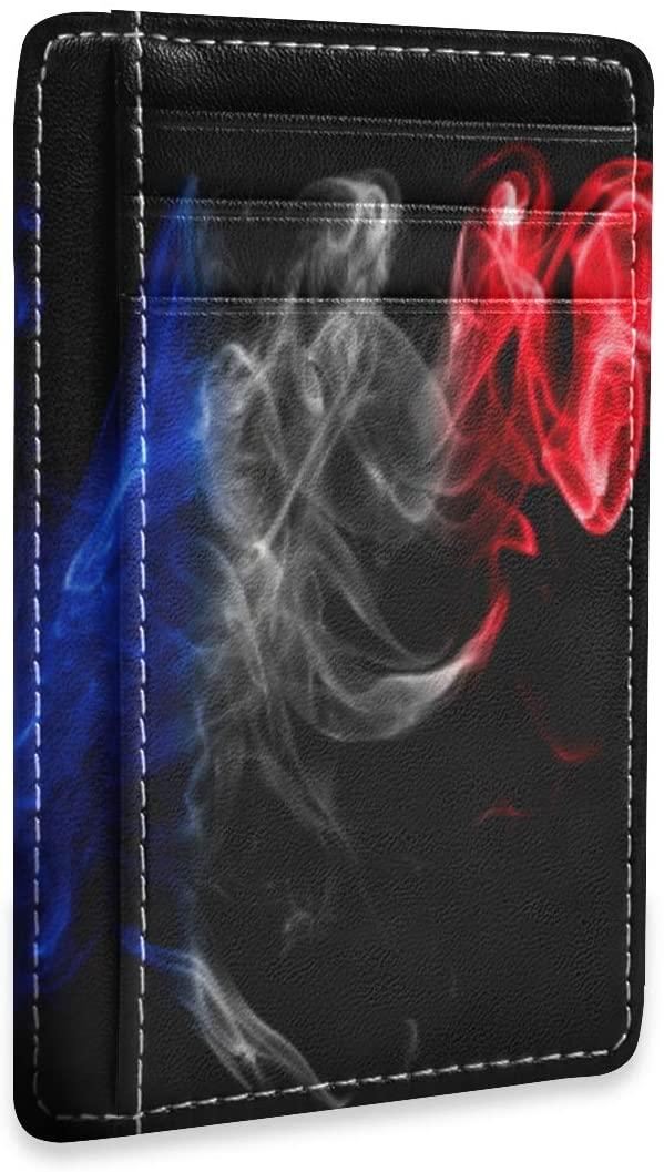 Slim Minimalist Wallet Men Women France Flag Smoke Red Blue Black RFID Credit Card Holder Wallet Leather
