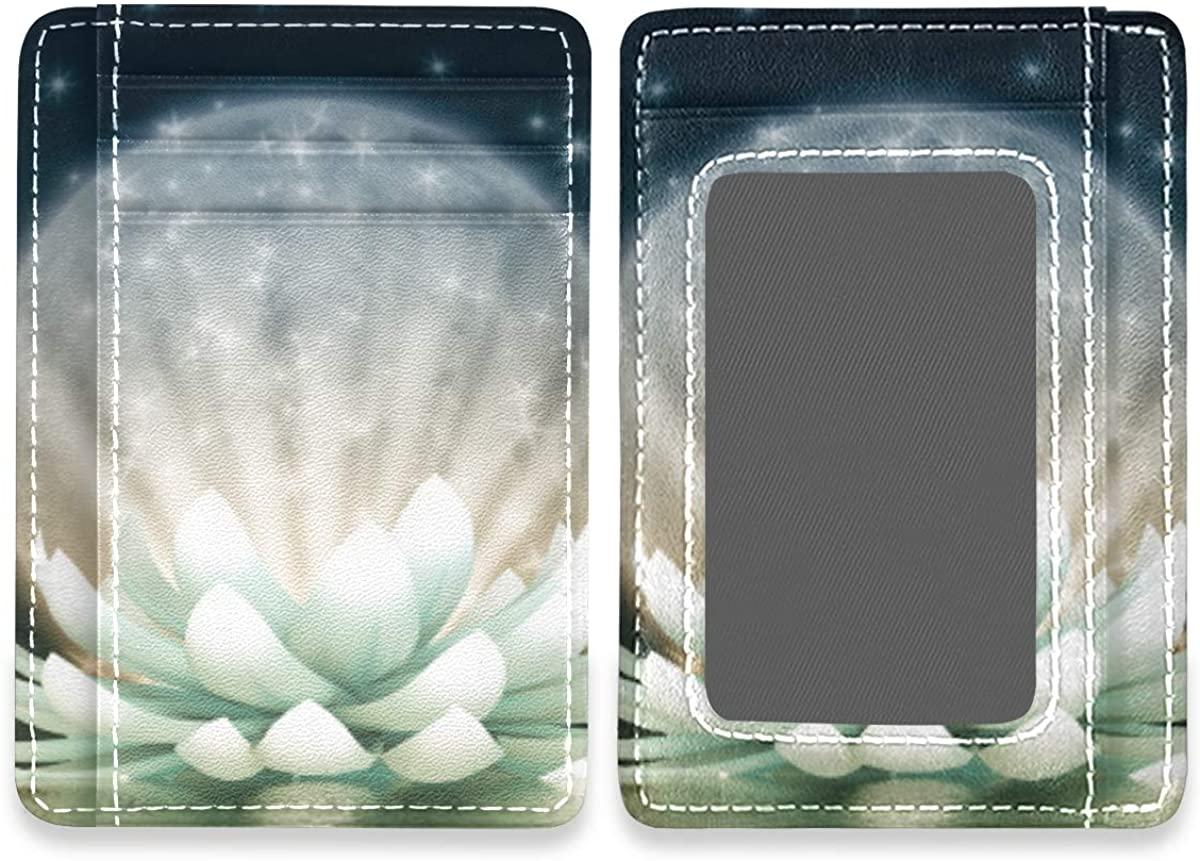 Slim Minimalist Wallet Men Women Beautiful Lotus Flower Floral Rfid Credit Card Holder Wallet Leather