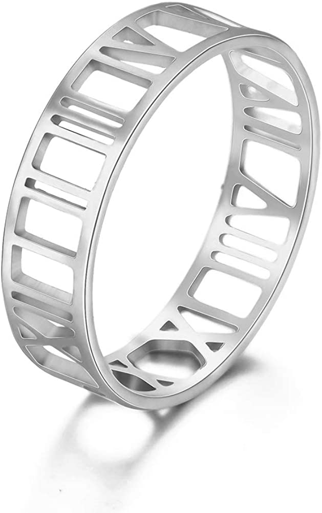 Amaxer Roman Numerals Hollow Out Stainless Steel Statement Unisex Band Ring Fashion Jewelry