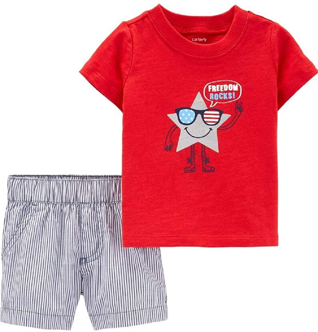 Carter's Baby Boys 2-Piece 4th of July Tee & Striped Shorts Set, Newborn