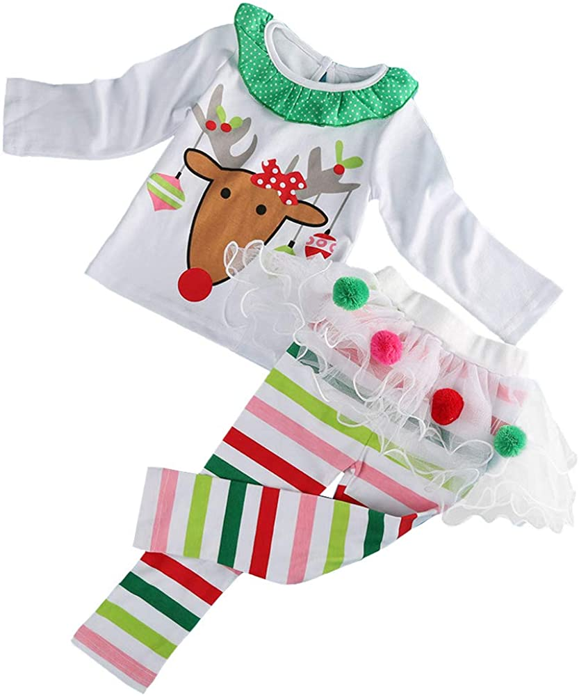 oneflow Toddler Baby Little Girls Christmas Outfit Kids Clothes Reindeer T Shirts Pom Poms Tutu Leggings Striped Pants Set