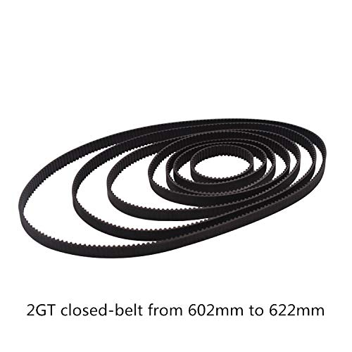 Ochoos 3D Printer Belt GT2 Closed Loop Rubber 2GT Timing Belt 602 604 606 608 610 612 614 616 618 620 622 GT2 Length 602mm 604mm 622mm - (Width: 6mm, Length: 2GT-616)