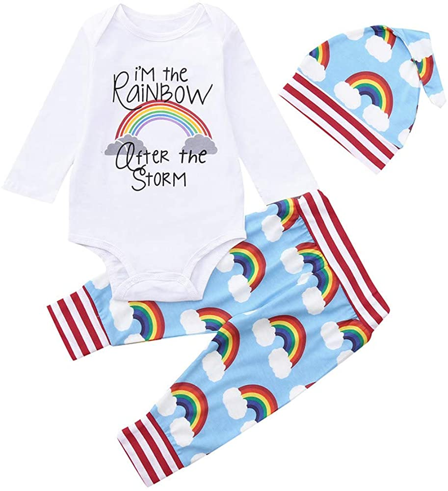Adeliber Newborn Baby Girl Boy Rainbow Romper Tops Jumpsuit Pants Hat Outfits Clothes Set