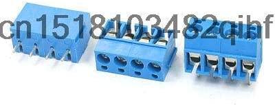 Davitu Terminals - 3 Pcs 5mm Pitch 14-22AWG 4Pin Blue Screw Connect Terminal Block 300V 16A