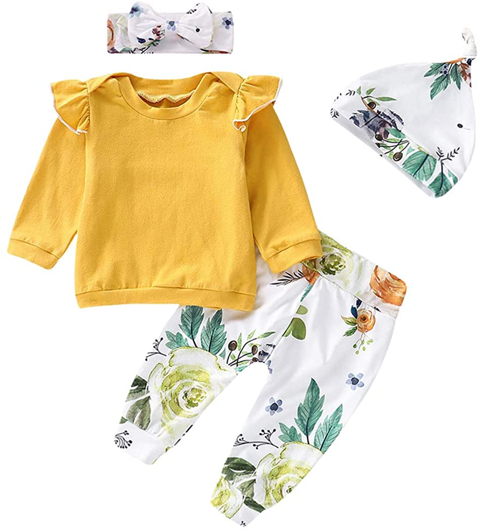 MetCuento Baby Girl Clothes Long Sleeve Sweatshirt T-Shirt Tops Floral Pants with Hats Headband 4 Pcs Outfit Sets