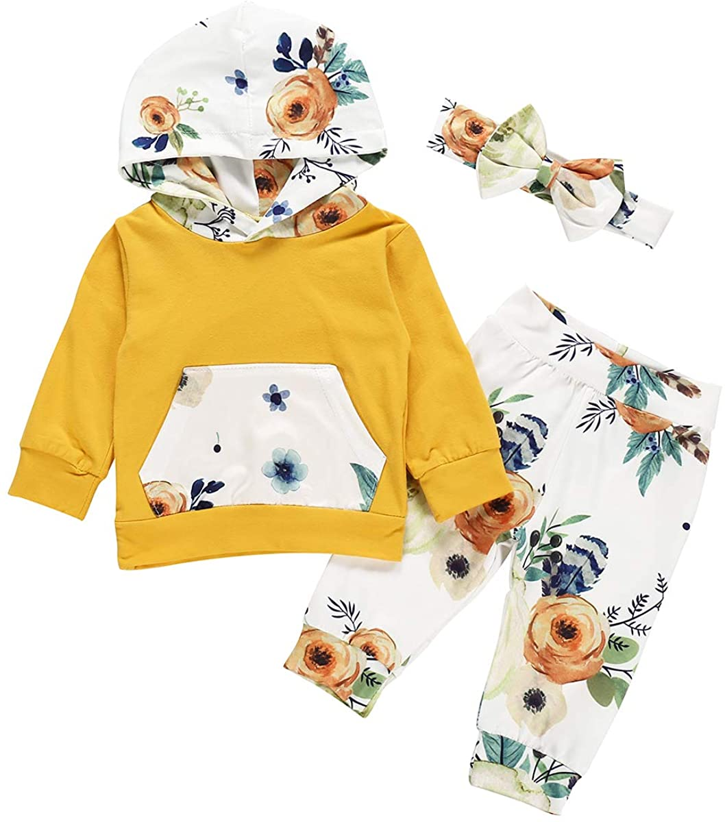 Baby Girl Floral Printed Hoodied Sweatshirt Outfits 2Pcs Long Sleeve Toddler Pocket Clothes Set Top Pants (Yellow, 6-12m)