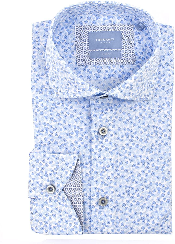 Tresanti Mens White Shirt with Small Blue Flowers