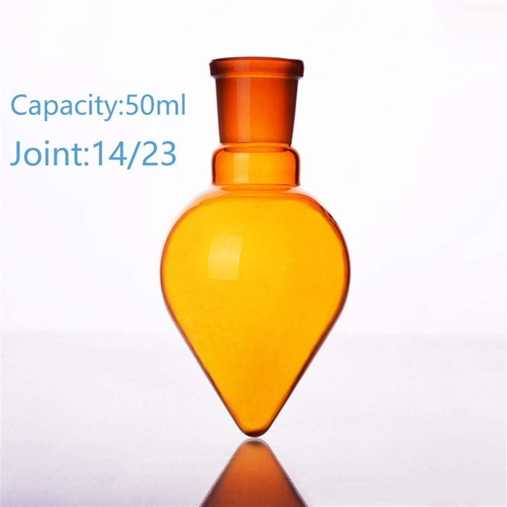 JIANFEI LIANG Brown Pear-Shaped Flask,Capacity 50ml,Joint 14/23,Brown Heart-Shaped Flasks,Brown Coarse Heart-Shaped Grinding Bottles