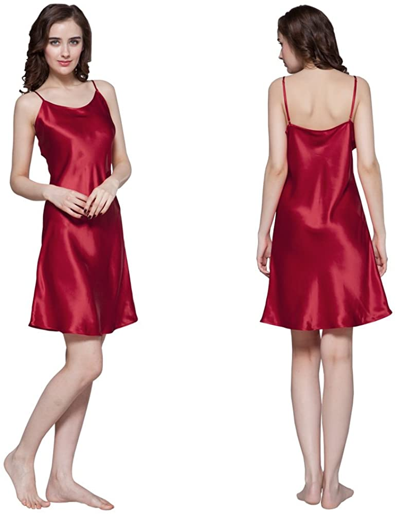LilySilk Women's Mulberry Silk Nightgown Short Chemise 100% Real 22 Momme Silk Nightdress