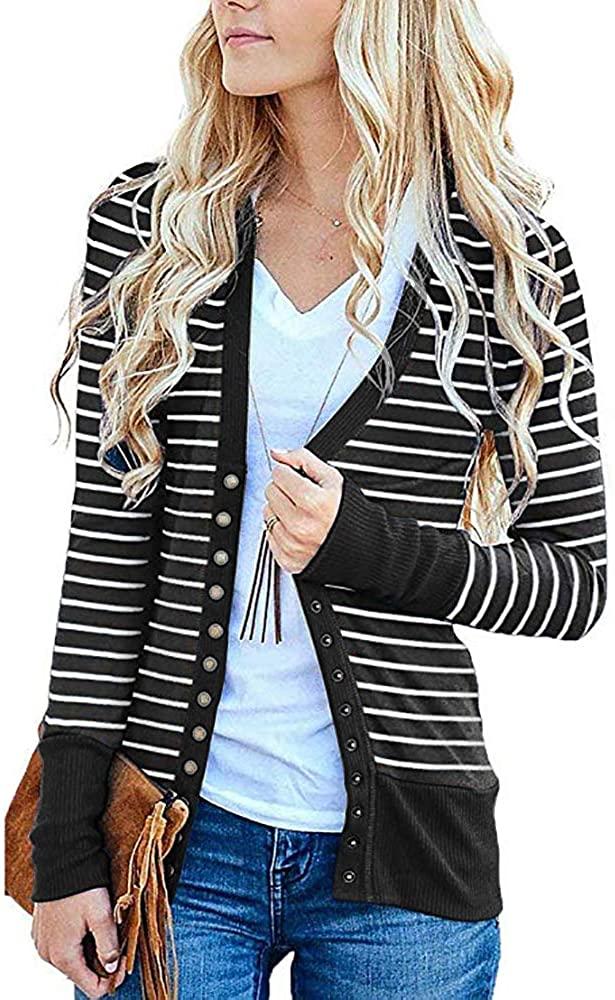 Womens Cardigan Sweaters Knitwears Long Sleeve Striped Button Down Cardigans Black Medium
