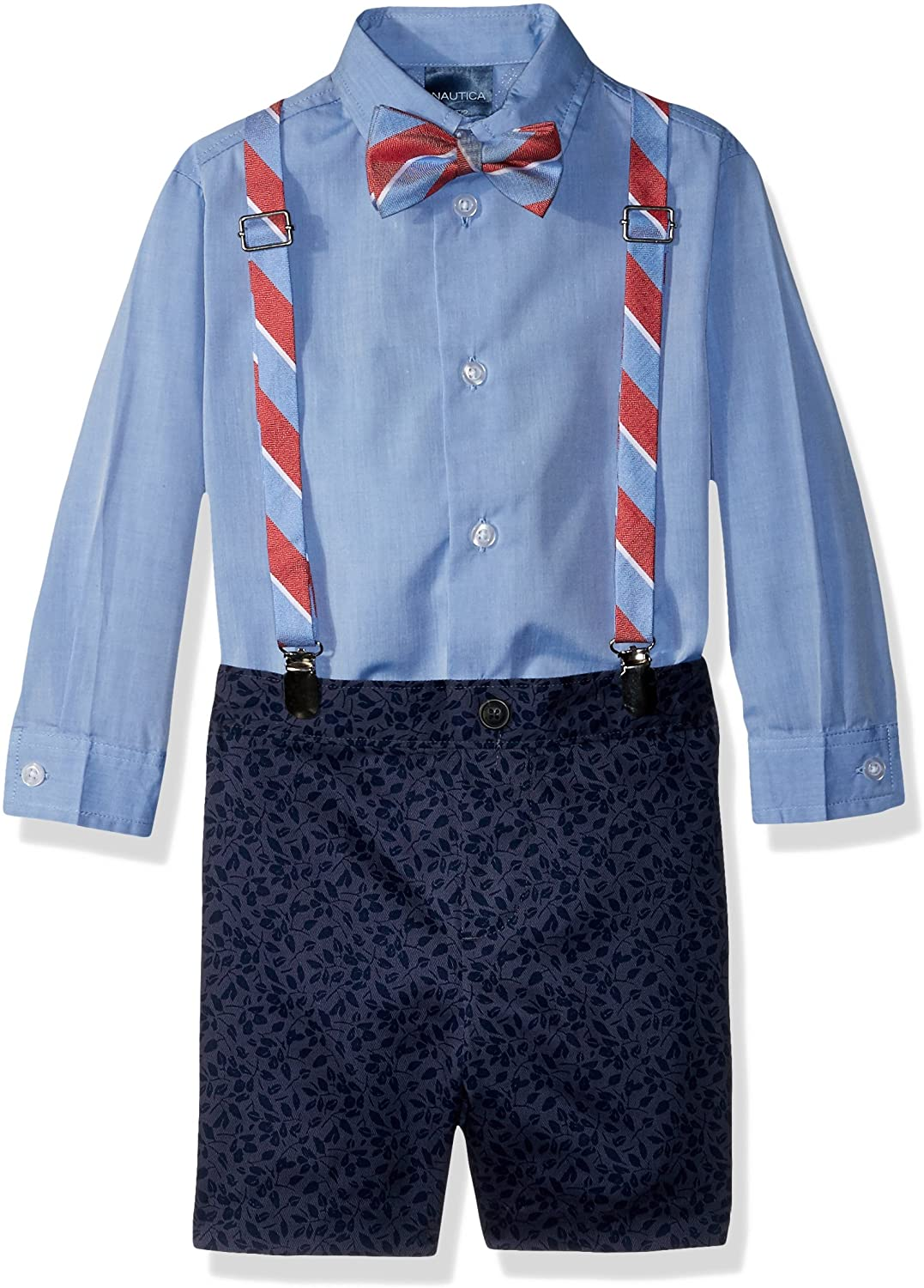 Nautica Boys' 4-Piece Set with Dress Shirt, Bow Tie, Suspenders, and Shorts