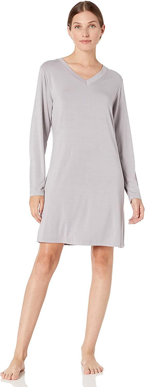 Casual Moments Women's V-Neck Sleepshirt, Gray, Medium