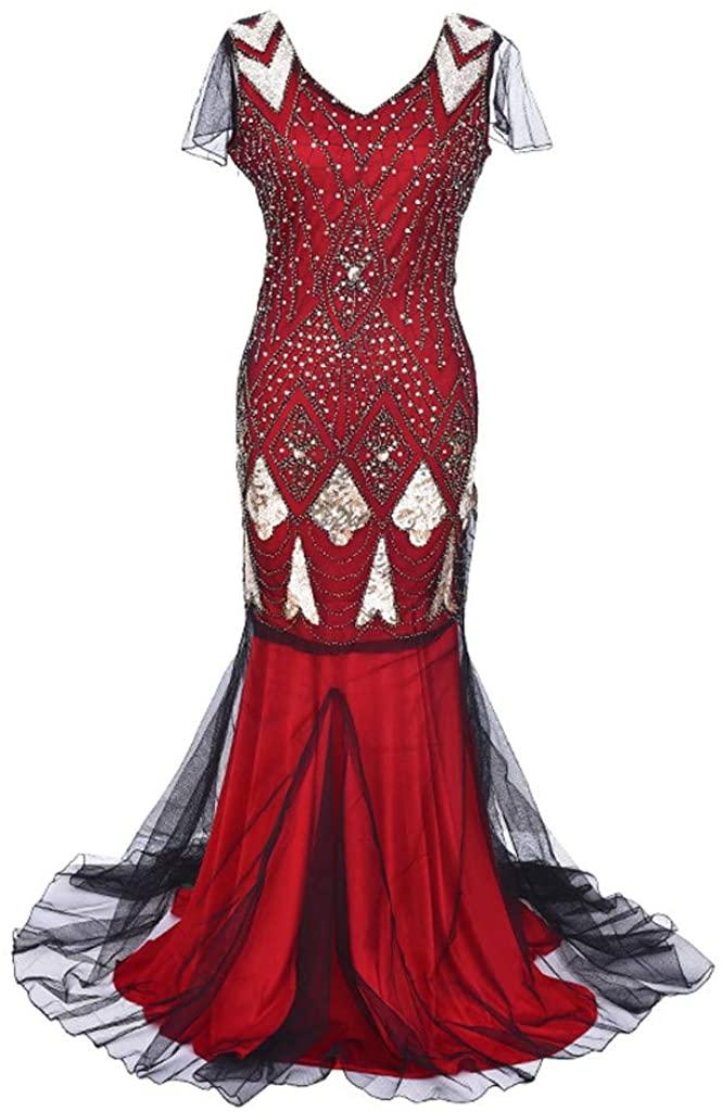 Leyben Dress Women's Evening Dress Casual Party 1920s Sequin Formal Long Flapper Gown Party Dress