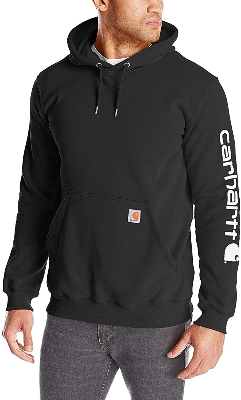 Carhartt Men's Signature Sleeve Logo Hooded Sweatshirt Hooded, Black, Size 3.0