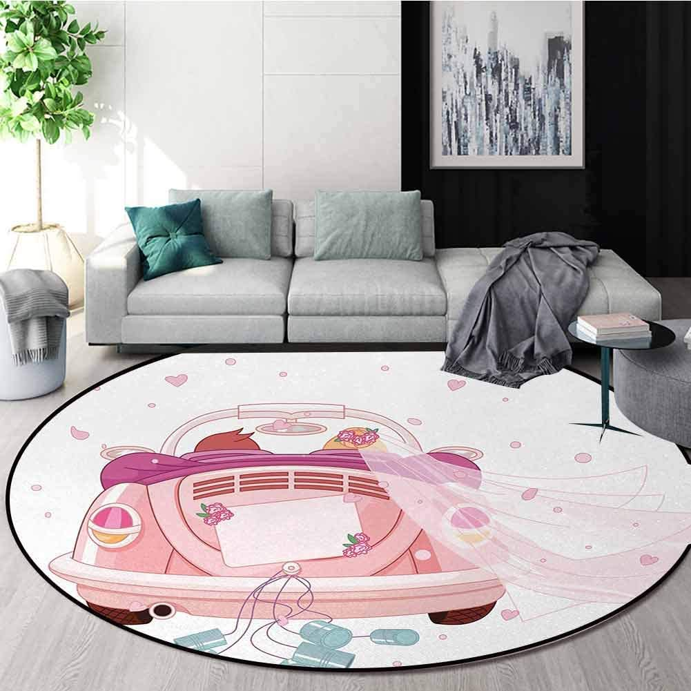 DESPKON-HOME Wedding Small Round Rug Carpet,Happy Bride and Groom Celebration in Old Fashioned Car Hearts Blue Cans Door Mat Indoors Bathroom Mats Non Slip Diameter-24 Inch,Pale Pink Blue White