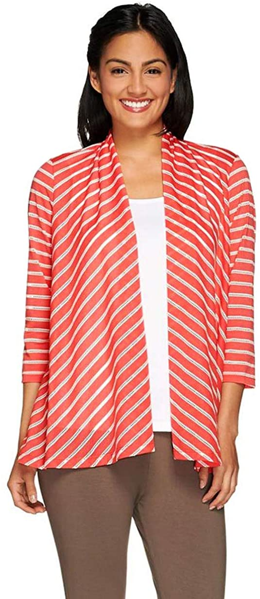 Susan Graver Womens Novely Knit 3/4 Sleeve Open Front Cardigan L Coral A265849