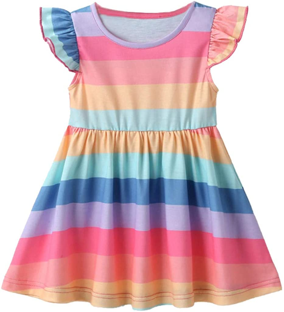 WOCACHI 2020 Toddler Girls Rainbow Dresses, Baby Little Girl Sleeveless Splice Elegant Princess Party Gown Dress