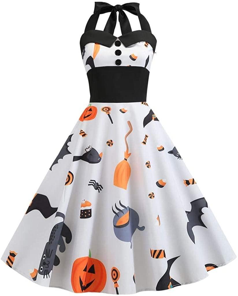 terbklf Halloween Dresses for Women Women's Vintage Print Sleeveless Halloween Evening Party Sexy Swing Halter Dress