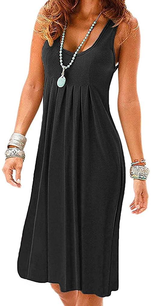 Poetsky Women's Summer Casual Sleeveless Tank Dress Knee Length Pleated Sun Dresses