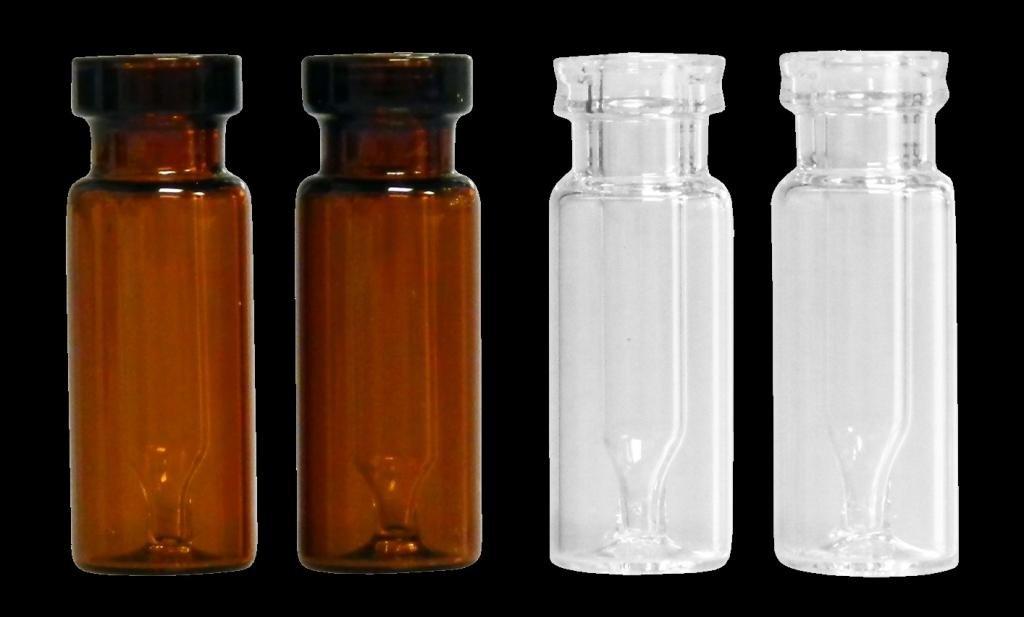 JG Finneran Interlocked 30211-1232A Borosilicate Glass Limited Volume Standard Opening Crimp Style Vials, Amber, 300µL Capacity (Case of 100)
