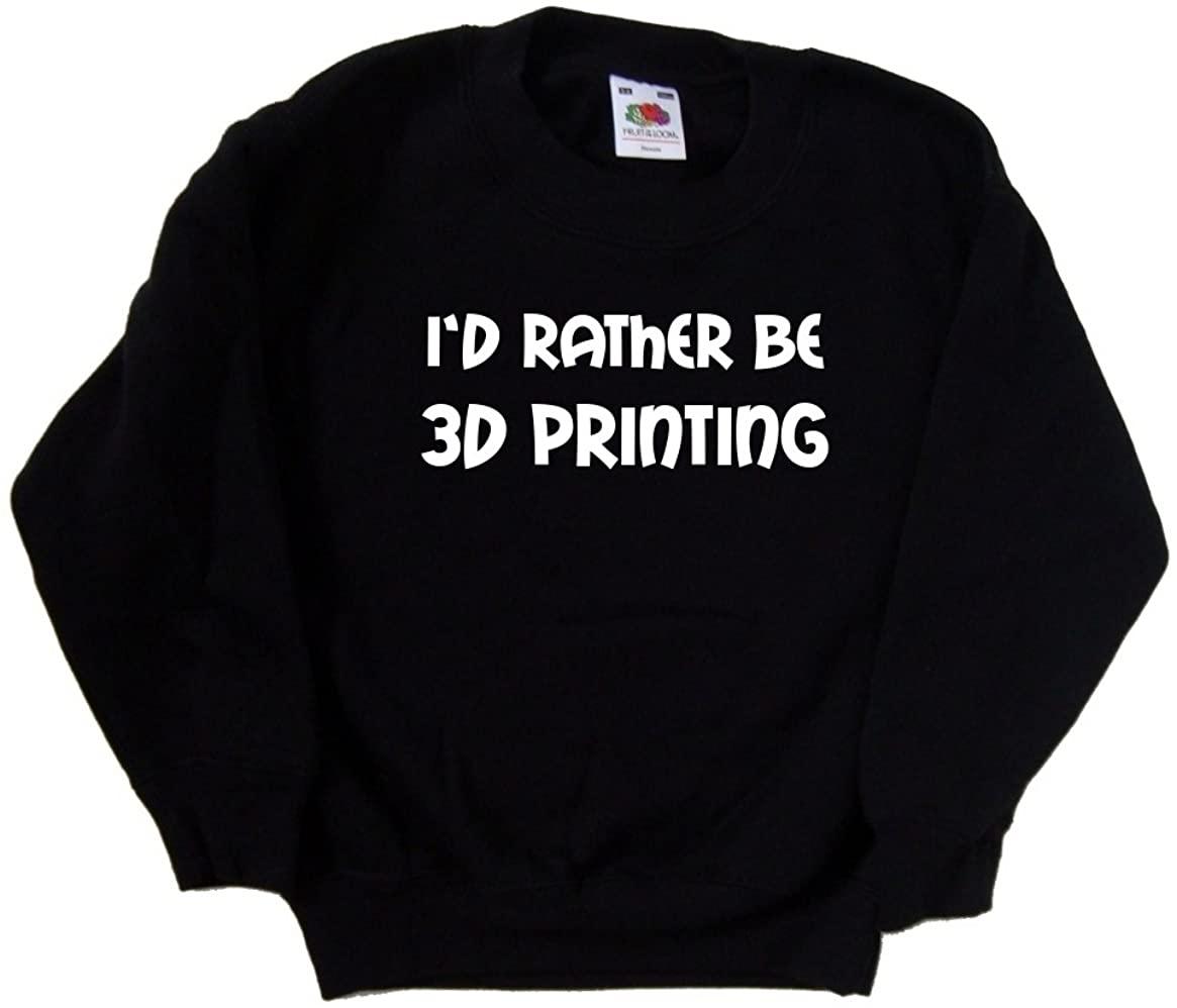 TeeTreeDesigns I'd Rather Be 3D Printing Black Kids Sweatshirt