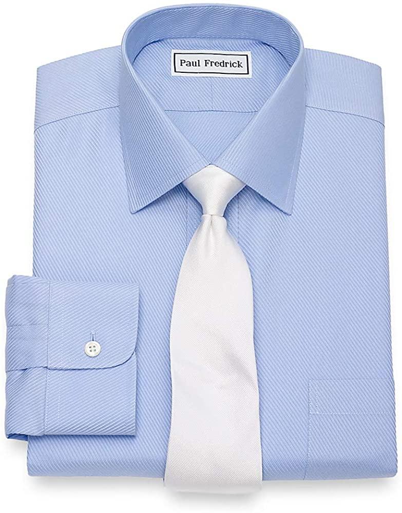 Paul Fredrick Men's Non-Iron Cotton Twill Windsor Spread Collar Dress Shirt