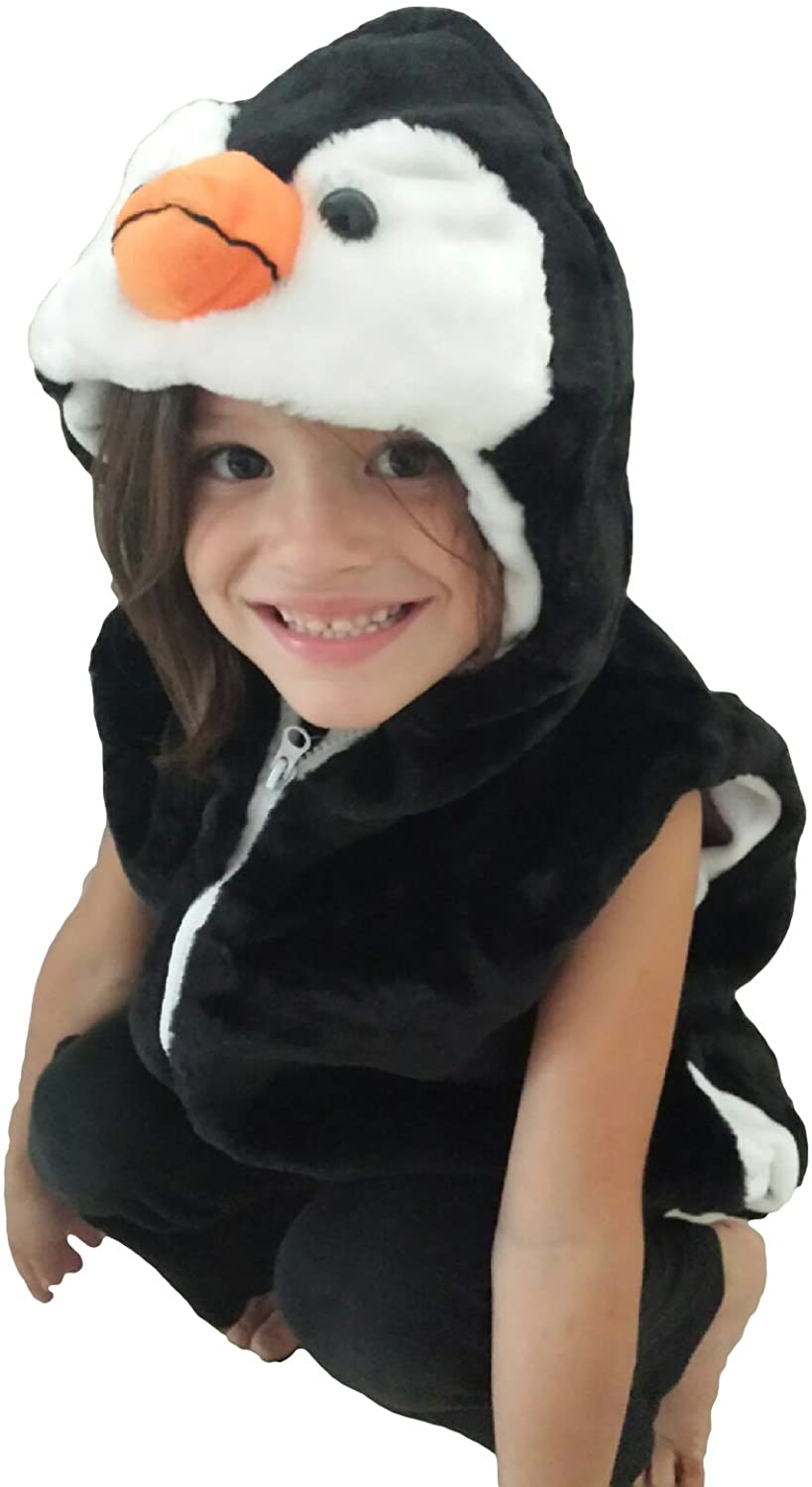 Fashion Vest with Animal Hoodie for Kids - Halloween Dress Up Costume - Boy and Girl Pretend Play (Small, Penguin)