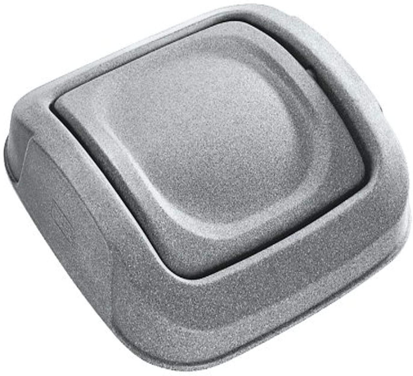 Toter SSD25-R1GST Slimline 25 Gallon Graystone Square Trash Can Swing Door Lid