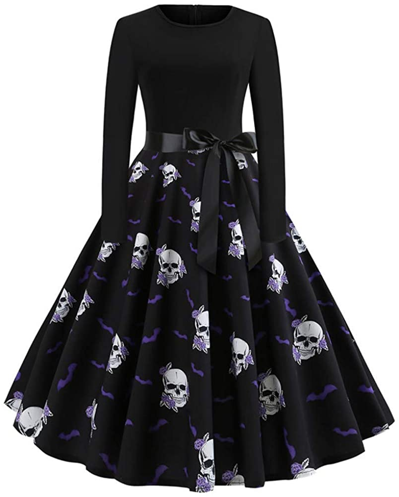 Adeliber Women's Dresses Halloween Retro Long Sleeve 3D Taro Print Party Dress