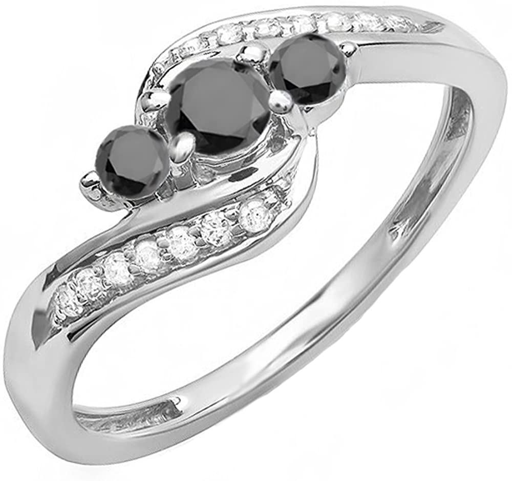 Dazzlingrock Collection 0.50 Carat (ctw) 14K Black & White Diamond Ladies Swirl 3 Stone Bridal Engagement Ring 1/2 CT, White Gold