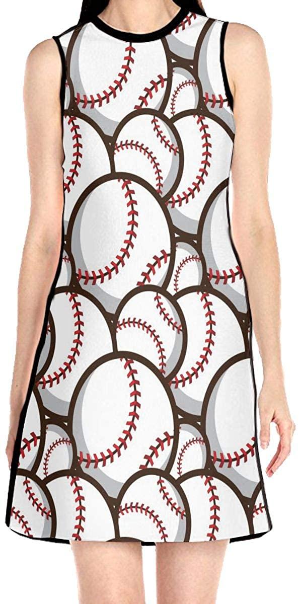 Baseball Pattern Women's Sleeveless Dress Casual Slim A-Line Dress Tank Dresses