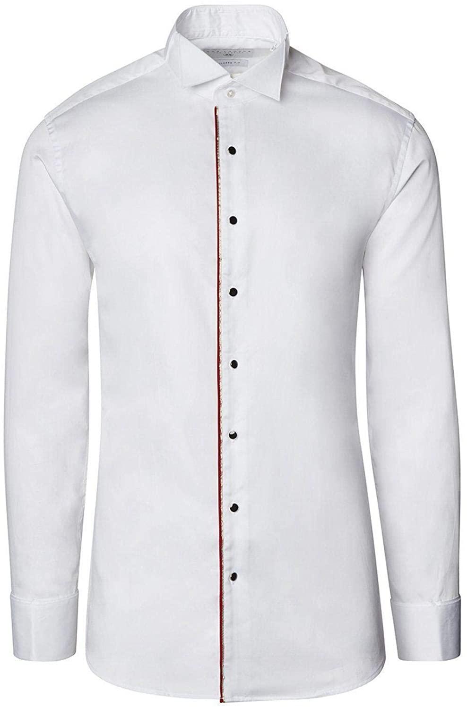 Ron Tomson Piped Lurex Detailed Tuxedo Shirt - White Red