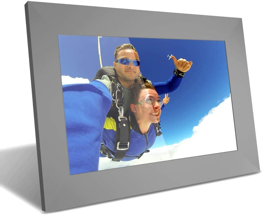YUNTAB 10 inch Digital Picture Frame - Easy to Use for All Ages, 1280 HD Touch Screen, Instantly Share Photo by APP, Multi-User Connection, Support TF Card for 40000 Photos, Timing Start, WiFi(Gray)