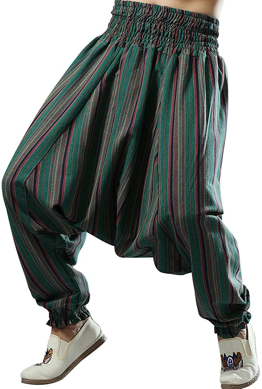 Zoulee Men's Elastic Waist Big Crotch Casual Striped Pants Loose Pants Cotton Linen Harem Pants